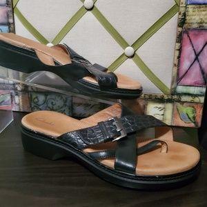 Clark's Black Leather Strappy Croc Embossed Sandal